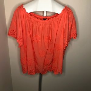 Lane Bryant Scalloped Hem Orange Top
